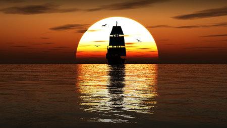 Beautifull ancient sailing ship at sunset. 3d illustration