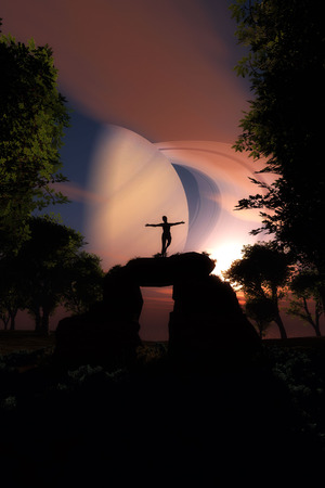 way up: Saturn with standing woman. Colorful landscape with night sky, planet Saturn and silhouette of a girl standing  on a rock.Travel. Bright stars 3D Illustration Stock Photo