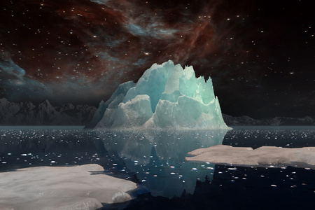 Icebergs under the Milky way. Elements of this image furnished by NASA. 3D Illustration