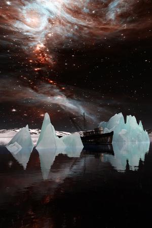 유창한 빙산. 이 이미지의 요소는 NASA에서 제공 한 것입니다. 3D 일러스트 레이션