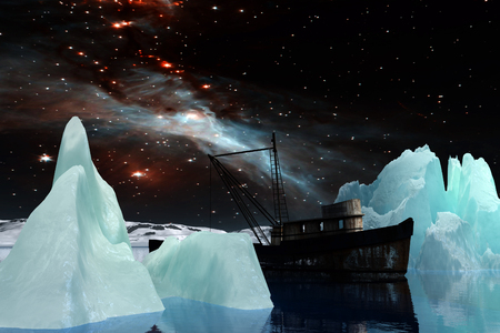 arctic landscape: Icebergs under the Milky way. Elements of this image furnished by NASA. 3D Illustration