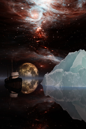 submerged: Icebergs under the Milky way. Elements of this image furnished by NASA. 3D Illustration