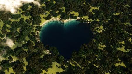 Lac de forme cardiaque vu d'en haut entre les arbres. Illustration 3D Banque d'images - 80003388