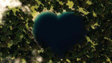 Lac de forme cardiaque vu d'en haut entre les arbres. Illustration 3D Banque d'images - 81601840
