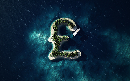 Success way. Tropical island in the form of the British pound symbol, 3D Illustration Stock Photo