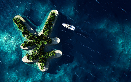 Success way. Tropical island in the form of the Yen currency symbol, 3D Illustration