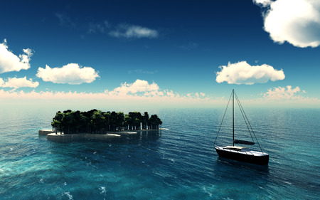 Paradise island over a blue sky with yacht. 3D illustration Stock Photo