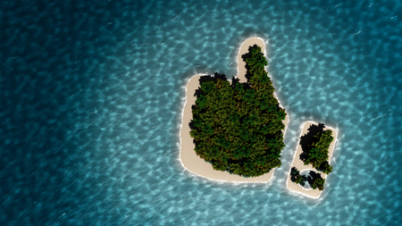 oasis: Success way. Tropical island in the form of the thumb up. 3D Illustration Stock Photo