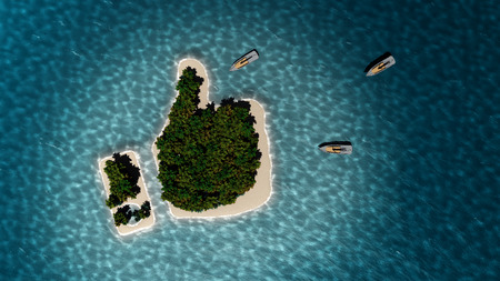 Success way. Tropical island in the form of the thumb up. 3D Illustration Фото со стока