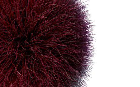 Shape of red fur isolated over the white background. 3D illustration