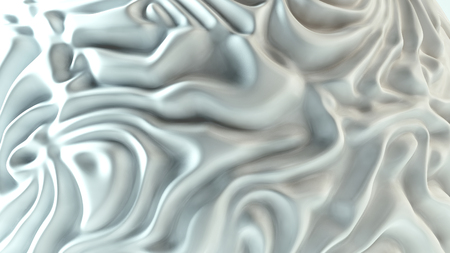 Rippled white fabric background in luxurious satiny material. 3D Illustration
