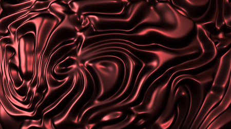 Rippled red fabric background in luxurious satiny material. 3D Illustration
