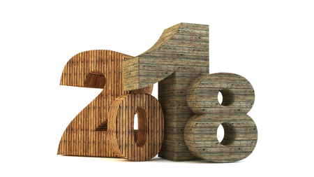 New 2018 year wood figures isolated on white background. 3D rendered Illustration for advertising.