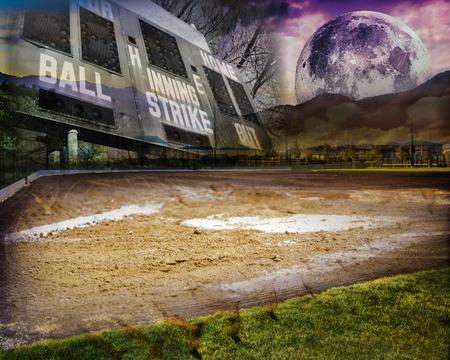 Softball field with purple moon