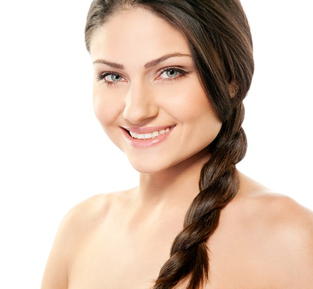 a tooth are beautiful: Attractive smiling woman portrait on white background