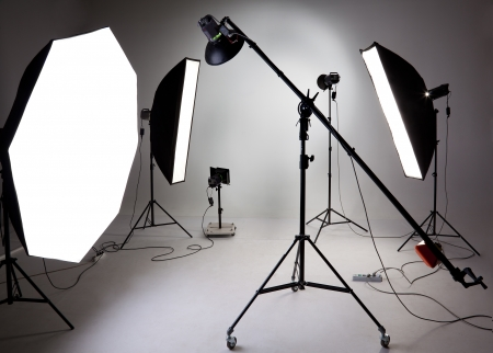 filming: Large photostudio with lighting equipment