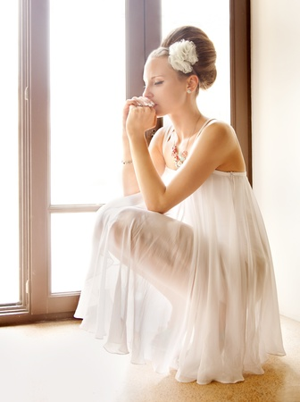 beautiful bride: The bride thought the window