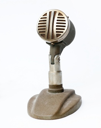 micro recording: Vintage microphone isolated on the white background