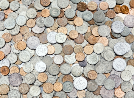 pile of coins: The background of the coins different sizes