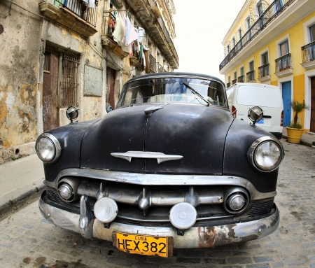 Cuba. HAVANA - January 24. Classic old car parked January 24, 2009 in Havana. Cubans keep thousands of them running despite the fact that parts have not been produced for decades and they