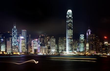 Hong Kong skyline city at night Stock Photo - 19381502
