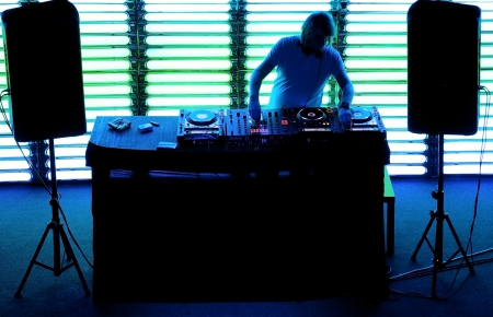 dj: Dj playing the track in the nightclub at a party
