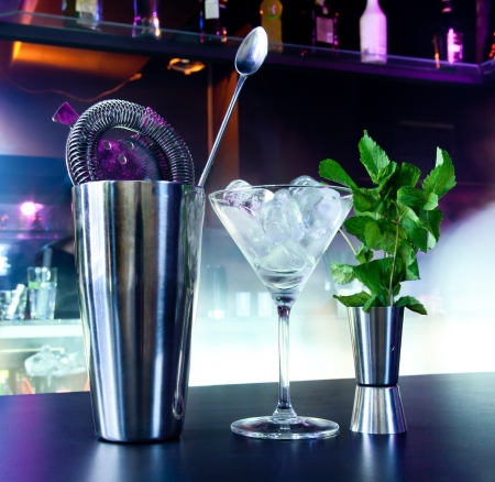 cocktail strainer: Shaker and bar inventory at a nightclub