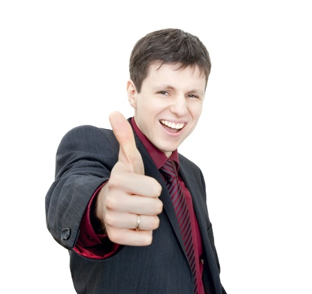 Business man shows thumb up photo