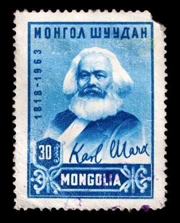 marx: MONGOLIA - CIRCA 1963: A stamp printed in the Mongolia shows portrait of Karl Marx, circa 1963 Editorial