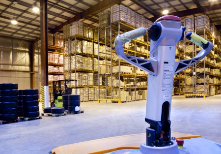 Large modern warehouse with forklifts Stock Photo - 19681188