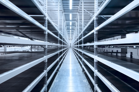 Interior of the new and modern warehouse space in a well lit large room Stock Photo - 19852418