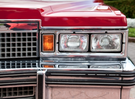 car grill: Classic old car close-up front right view Stock Photo