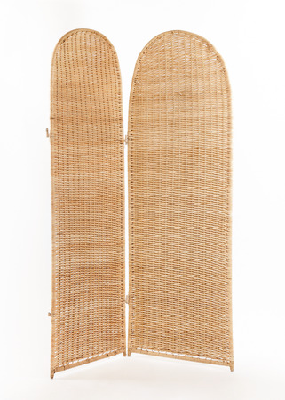 folding screens: Folding wicker screen isolated on white