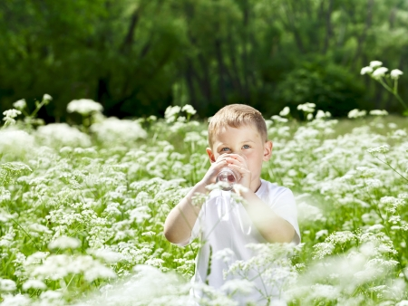 hand water: Child drinking pure water in nature Stock Photo