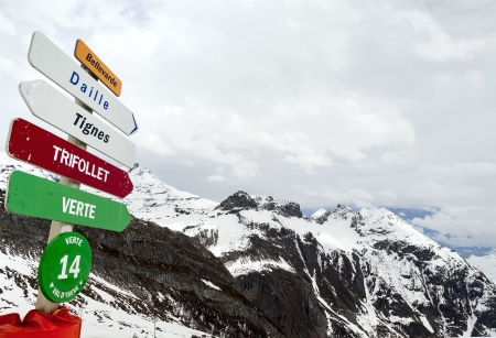 Panorama of the French Alps with pointers to the slopes for skiers and snowboarders photo
