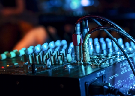 audio mixer: Music Mixer at nightclub with connected wires Stock Photo