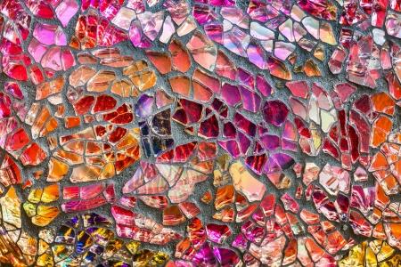カラフルなガラス モザイク アートと抽象的な壁の背景