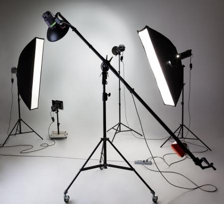 Large photostudio with lighting equipment