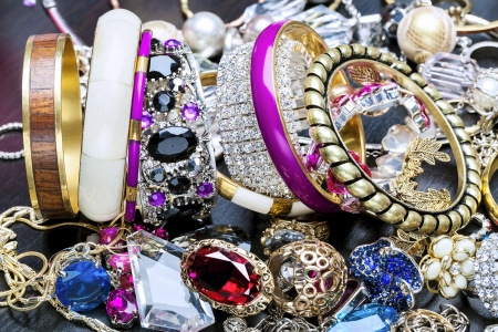 silver jewelry: Many fashionable womens jewelry and bracelets for hand Stock Photo