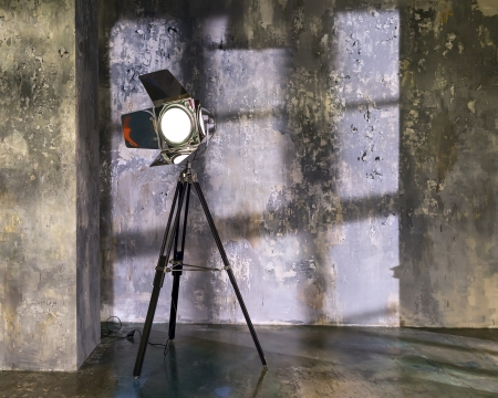 indoor background: Large photostudio with lighting equipment