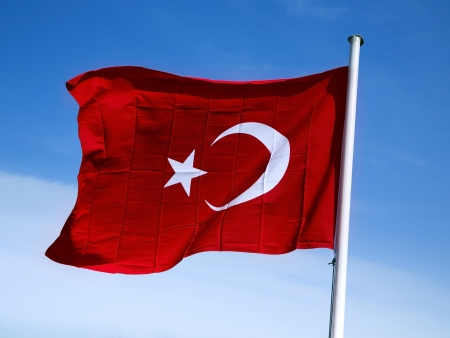flagging: Waving flag of Turkey on background blue sky