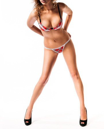 Sexy body of young attractive womans is in underwear