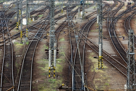 junctions: Railroad tracks line crossing. Top view Stock Photo