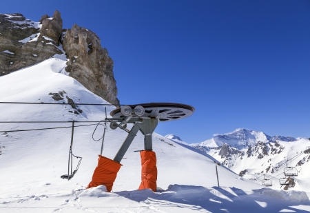 cableway: Cableway to beautiful scenery of mountains in French Alps