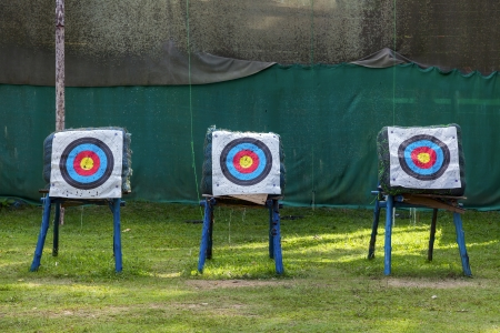 bolter: Standard colorful target for archery Stock Photo
