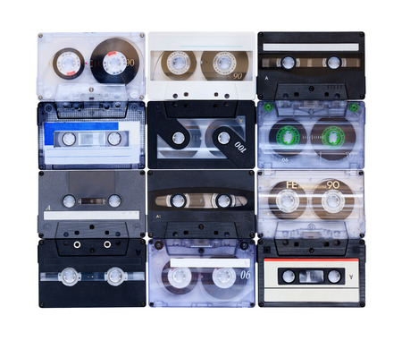 90s: Collection of various vintage audio tapes on white