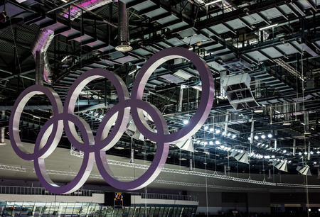 olympic games: SOCHI, RUSSIA - FEBRUARY 16: Olympic rings hanging in the ceiling in the Large Ice Palace in the Olympic Park of Winter Olympic Games Sochi 2014 on February 16, 2014 in Sochi, Russia