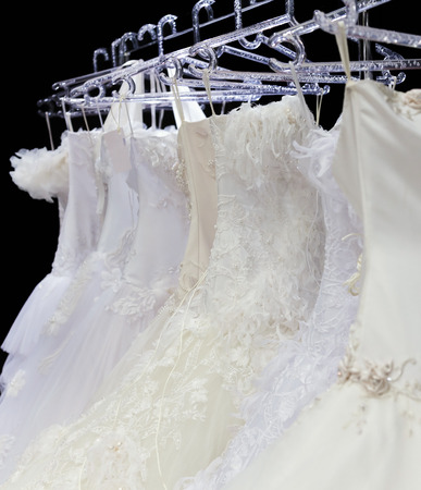 fancy dress costume: Collection of wedding dresses in the shop