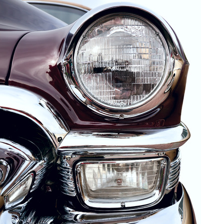 car grill: Classic old car closeup front right view
