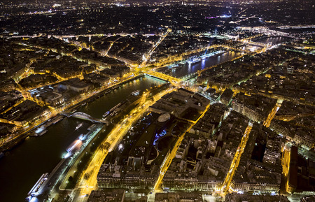View from the top of the Eiffel Tower at night Paris, France photo